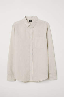 H&M Slim Fit Linen-blend Shirt - Beige