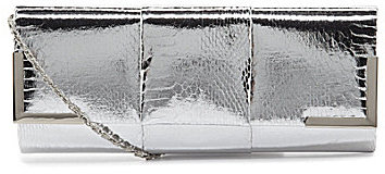 Kate Landry Social Metallic Snake Flap Clutch