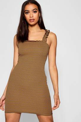 boohoo Check Ruffle Strap Square Neck Bodycon Dress
