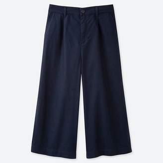 Uniqlo WOMEN Linen Cotton Wide Cropped Pants