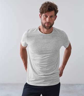 Reiss CLARENCE MELANGE CREW NECK T-SHIRT Soft Grey