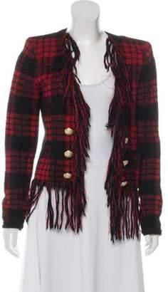 Balmain Fringe-Trimmed Plaid Jacket Red Fringe-Trimmed Plaid Jacket