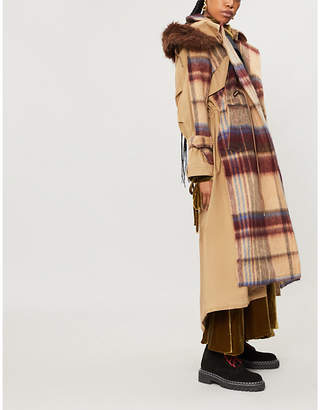 Sacai Contrast check-pattern wool and cotton-blend trench coat