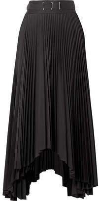 Awake Asymmetric Pleated Poplin Midi Skirt - Black