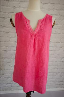 Luella Linen One Size Pink Linen Sleeveless Tunic - one size | linen | pink - Pink/Pink