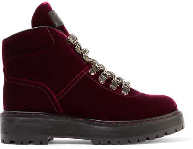 Prada - Leather-trimmed Velvet Ankle Boots - Burgundy