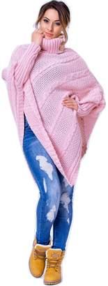 WozWoz Clothing WozWoz Women's Polo Neck Knit Poncho Cape Jumper with Sleeves