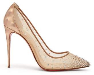 Christian Louboutin Follies Strass 100 Holographic Heel Mesh Pumps - Womens - Nude Gold