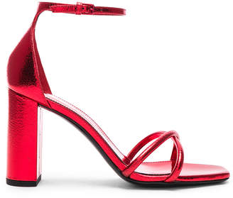 Saint Laurent Metallic Loulou Ankle Strap Sandals in Red | FWRD