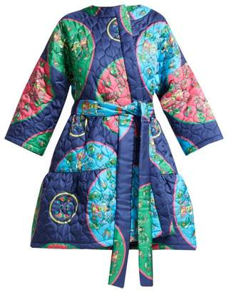 Anastasia Beverly Hills Rianna + Nina Folk Print Quilted Silk Jacket - Womens - Blue Multi