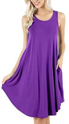 ZIOOER Women's Summer Casual Flowy Pockets Loose Beach Sleeveless T-Shirt Dresses XXL