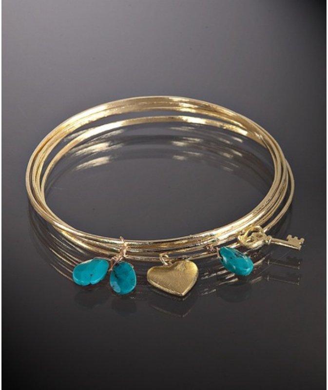 Marcia Moran set of 5- turquoise stone charm bangles