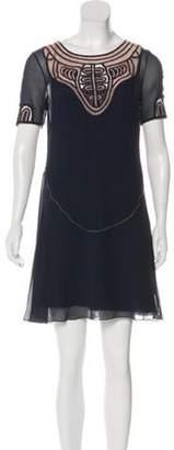 Matthew Williamson Leather-Trimmed Silk Dress Navy Leather-Trimmed Silk Dress