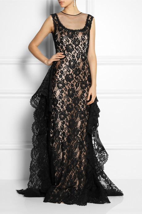 Alberta Ferretti Silk, ruffled lace and tulle gown