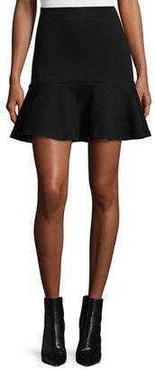 McQ Alexander McQueen Ponte Flounce Mini Skirt, Darkest Black $350 thestylecure.com