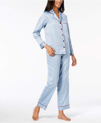 Alfani Satin Notch Collar Pajama Set