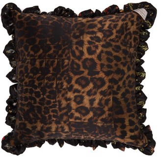 Preen by Thornton Bregazzi Floral And Leopard Print Silk Satin Cushion - Womens - Black Multi