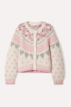 LoveShackFancy Jamie Fair Isle Knitted Cardigan - Cream