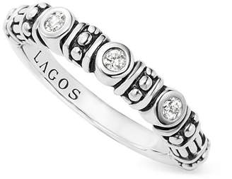 Lagos Sterling Silver Three Diamond Stacking Ring