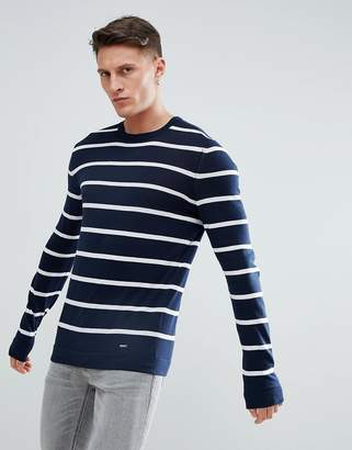 HUGO Bretton Stripe Sweater In Navy