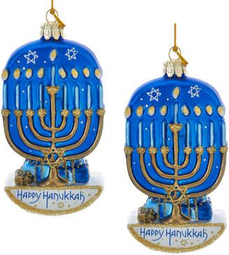 Kurt Adler Set Of 2 Noble Gems Hanukkah Menorah Ornaments