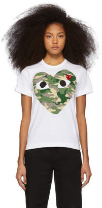 Comme des Garcons White and Red Camo Heart T-Shirt