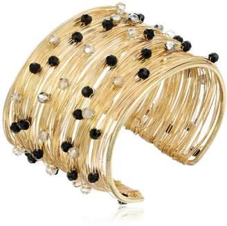 Panacea Crystal Flexible Wire Gold Cuff Bracelet