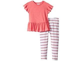 ffbc78b061ef1 Splendid Littles Gather Hem Top with Stripe Leggings Set (Toddler Little  Kids)