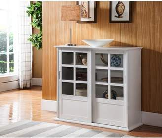 URBAN RESEARCH Pilaster Designs Nolan White Wood Contemporary Curio Bookcase Display Storage China Cabinet With Glass Sliding