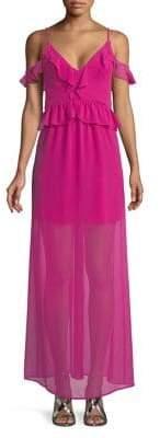 BCBGeneration Short-Sleeve Cold-Shoulder Maxi Dress