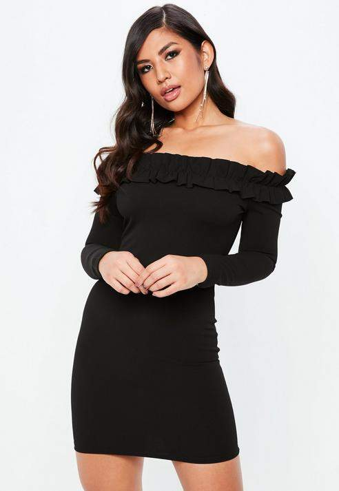 Black Bardot Frill Bodycon Dress