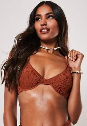 Missguided Rust Crinkle Underwire U Triangle Bikini Top