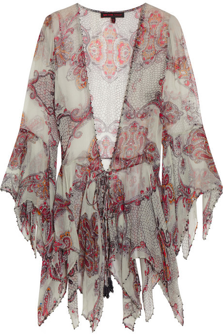 Kate Moss for Topshop Embellished paisley-print chiffon top