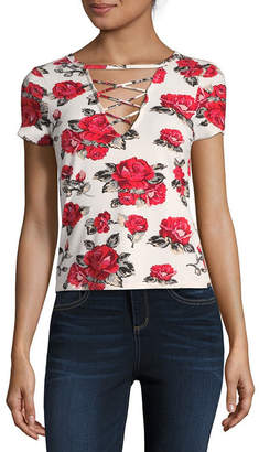 Almost Famous Short Sleeve V Neck Blouse-Juniors