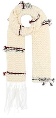 Prada Feather-trimmed wool scarf