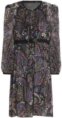 Roberto Cavalli Ruffle-Trimmed Printed Metallic Silk-Blend Georgette Dress