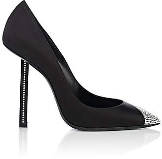 Saint Laurent Women's Tower Embellished Satin Pumps - Black