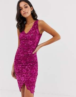 City Goddess scalloped hem lace midi dress