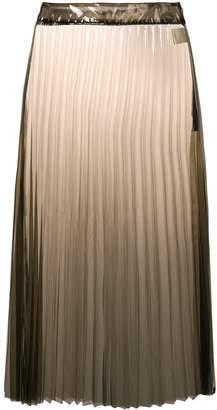 clear Ssheena pleated PU midi skirt