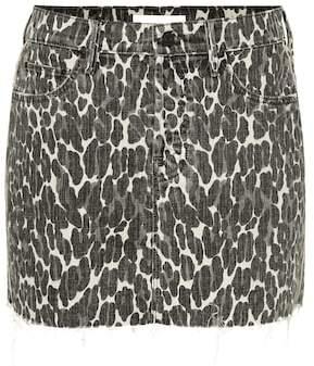Mother The Vagabond leopardprint denim miniskirt