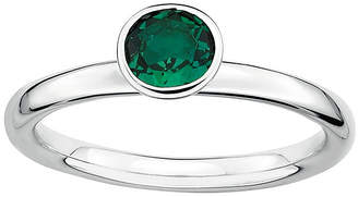 JCPenney FINE JEWELRY Personally Stackable Lab-Created Emerald Sterling Silver Stackable Ring