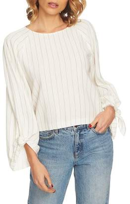 1 STATE 1.State Ticking Stripe Tie Sleeve Cotton Blend Top