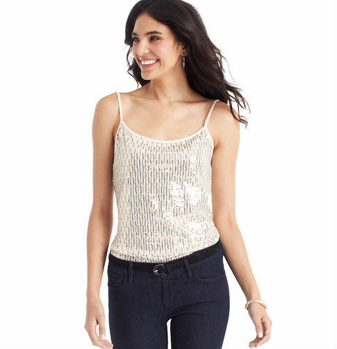 LOFT Sequin Front Cotton Cami