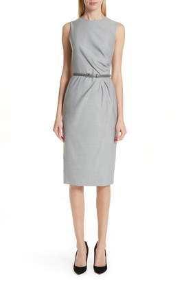 Max Mara Torres Side Pleat Sheath Dress