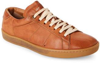 Saint Laurent Cognac Court Classic Distressed Leather Low-Top Sneakers