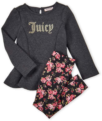 Juicy Couture Girls 4-6x) Two-Piece Studded Peplum Pullover & Floral Leggings Set