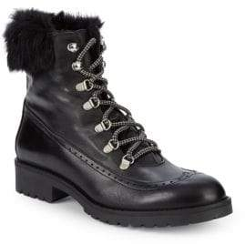 Charles David Rugby Rabbit Fur-Trimmed Leather Lace-Up Boots