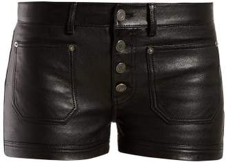 Saint Laurent Button Front Leather Shorts - Womens - Black