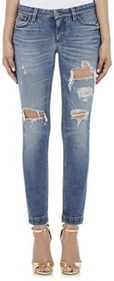 Dolce & Gabbana Women's Distressed Skinny Jeans-BLUE $695 thestylecure.com