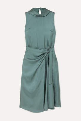 Brunello Cucinelli Twisted Silk-twill Dress - Dark green
